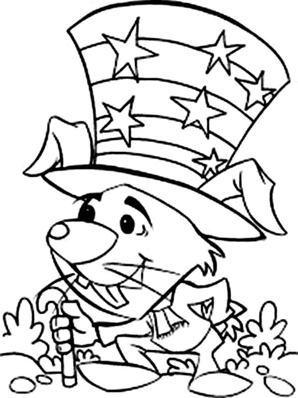 Independence Day, : Little Mouse Celebrating 4th July Independence Day Coloring Page