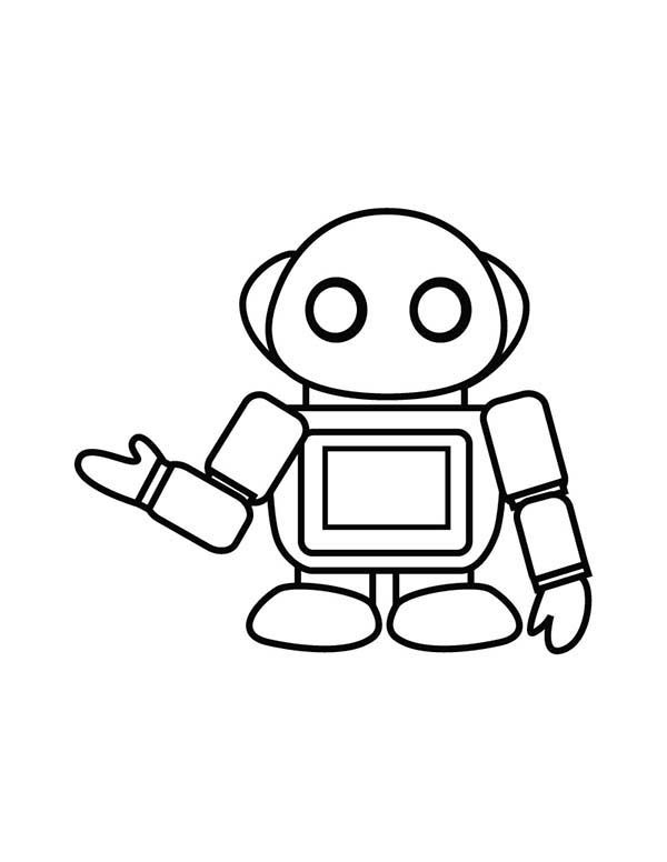 Robots, : Little Waitres Robot Coloring Pages