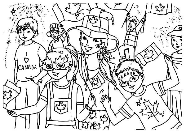 Canada Day, : Lots of Kids Celebrating 2015 Canada Day Event Coloring Pages