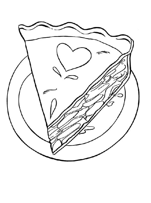 Cake Slice, : Love Decorated Cake Slice Coloring Pages