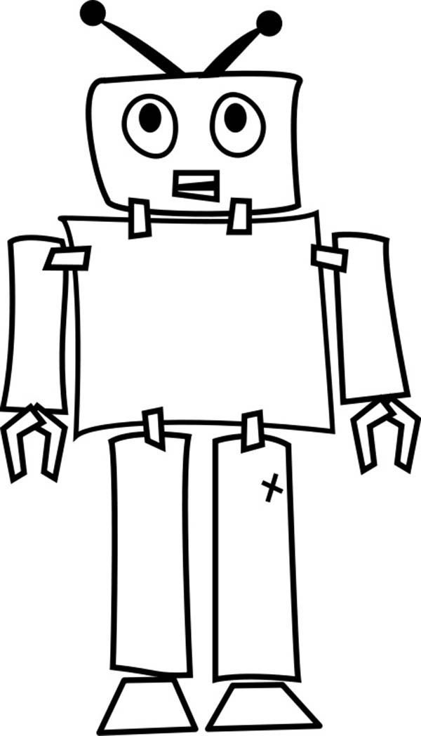 Robots, : Low Tech Robot Coloring Pages