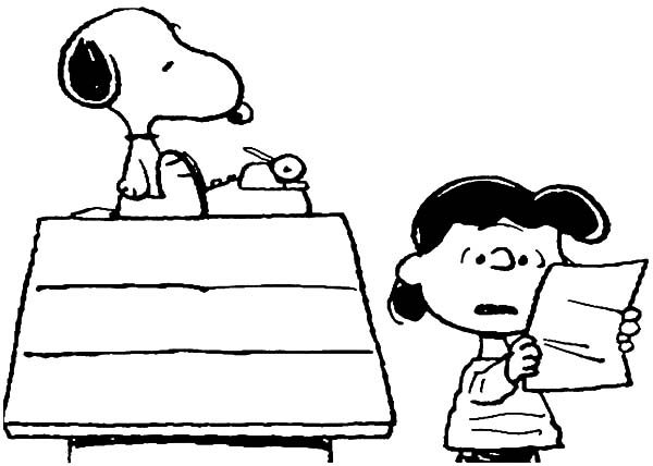 Snoopy, : Lucy is Surprise Snoopy Can Write Coloring Pages
