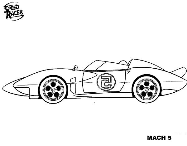 Speed Racer, : Mach 5 of Speed Racer Coloring Pages
