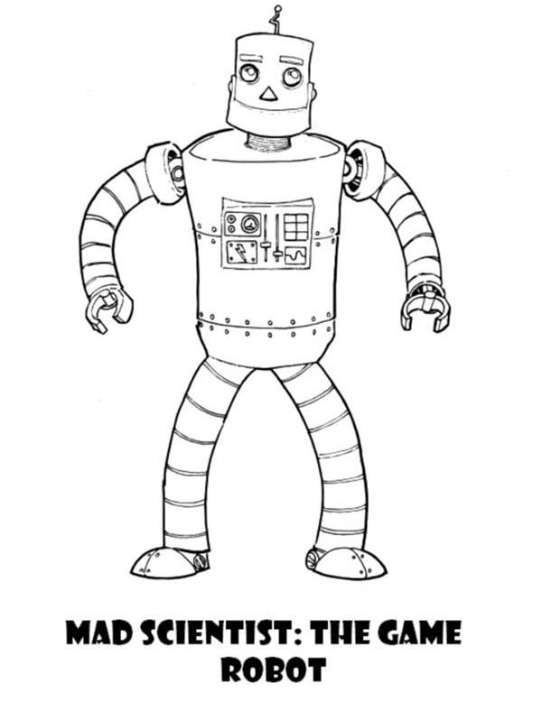 Robots, : Mad Scientist the Game Robot Coloring Pages