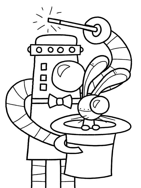 Robots, : Magician Robot Coloring Pages