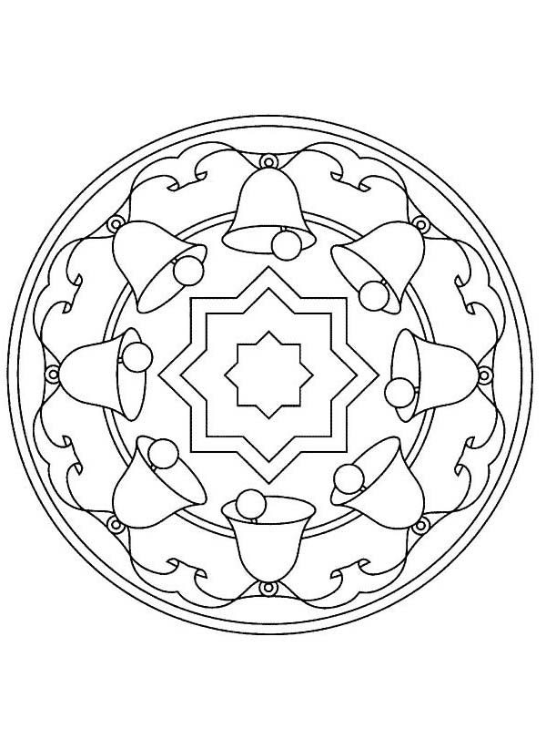 Christmas Mandala, : Mandala Christmas Bell Coloring Pages