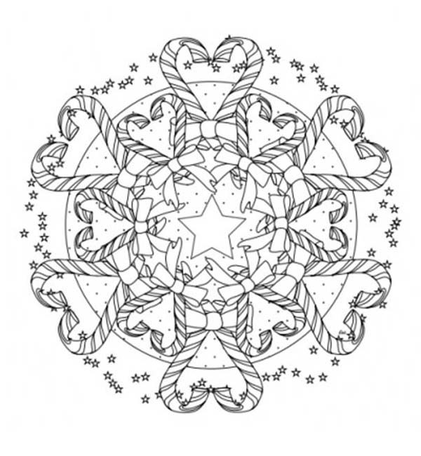Mandala Christmas Candy Cane Coloring Pages
