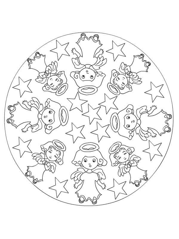 Christmas Mandala, : Mandala Christmas Little Angels Coloring Pages