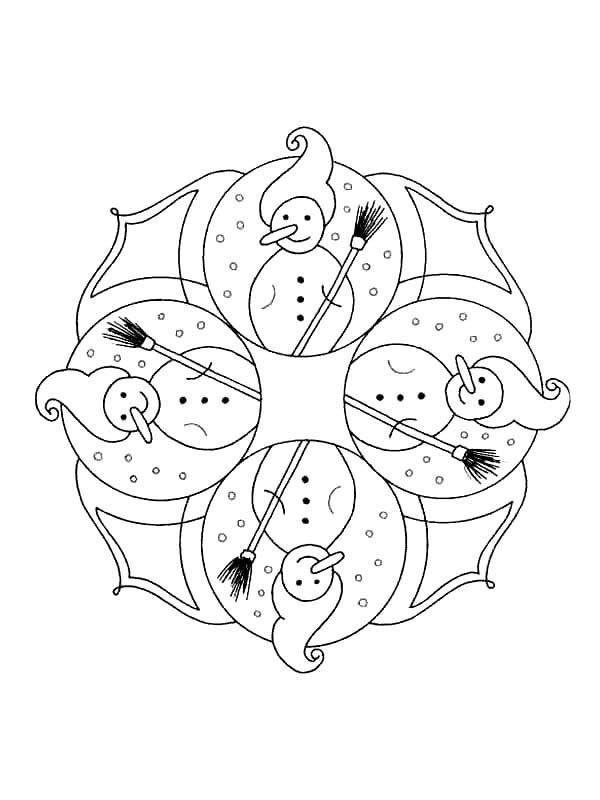 Christmas Mandala, : Mandala Christmas Long Nosed Snowman Coloring Pages