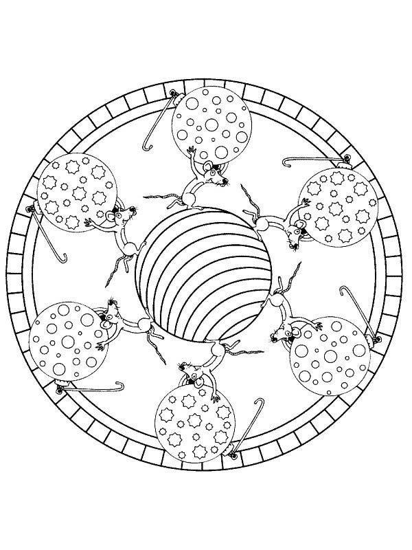 Christmas Mandala, : Mandala Christmas Mouse Lifting Christmas Ornaments Coloring Pages