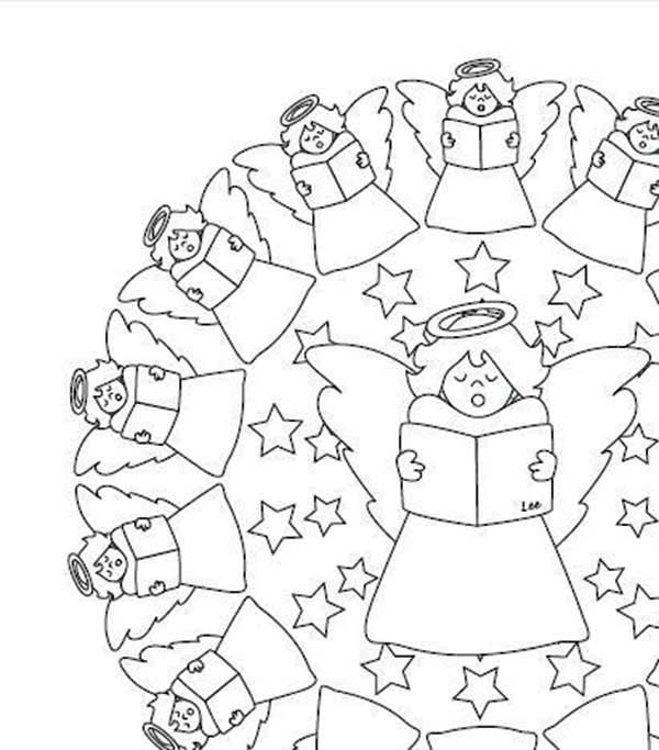 Christmas Mandala, : Mandala Christmas Singing Angels Coloring Pages