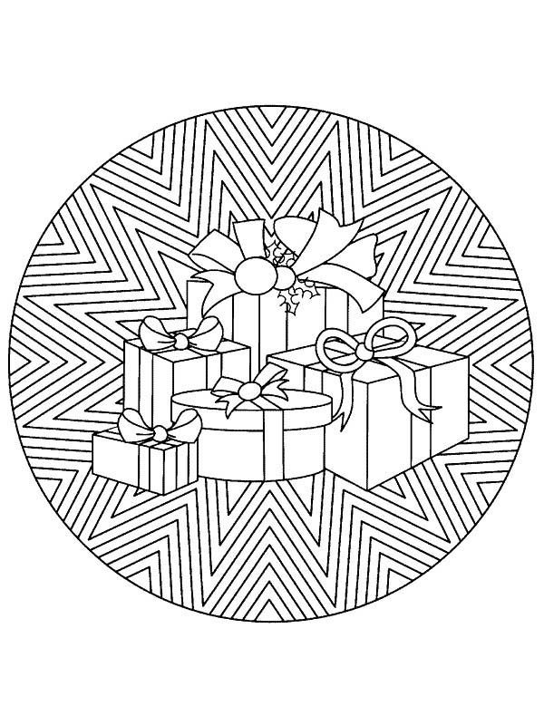 Christmas Mandala, : Mandala Christmas Stack of Presents Coloring Pages