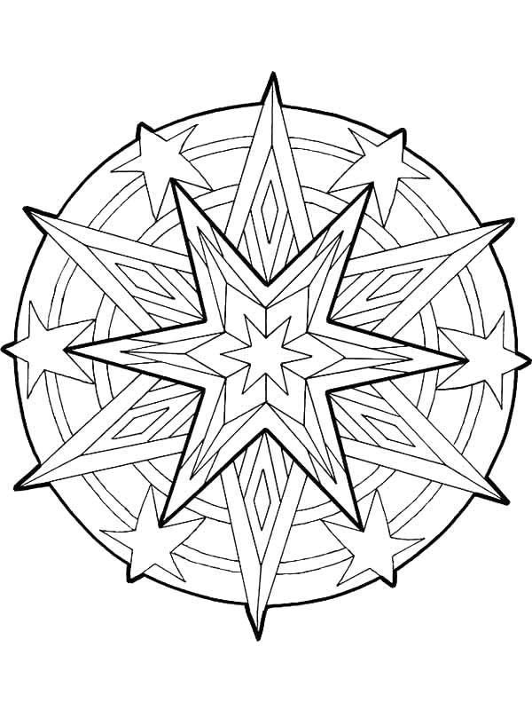Mandala Christmas Stars Outline
