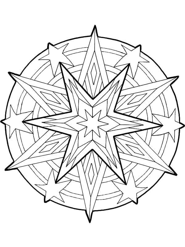 christmas star coloring pages printable | Mandala Christmas Stars Outline Coloring Pages: Mandala ...