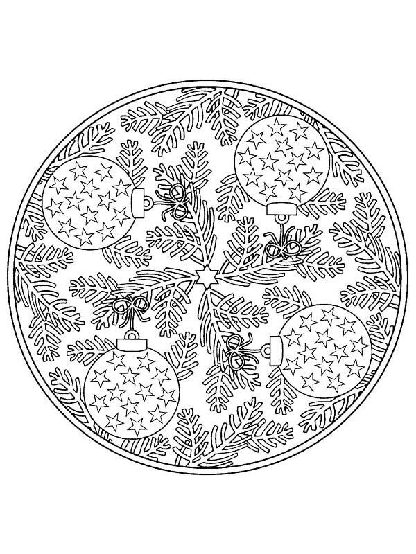 Christmas Mandala, : Mandala Christmas Tree Ornaments Coloring Pages