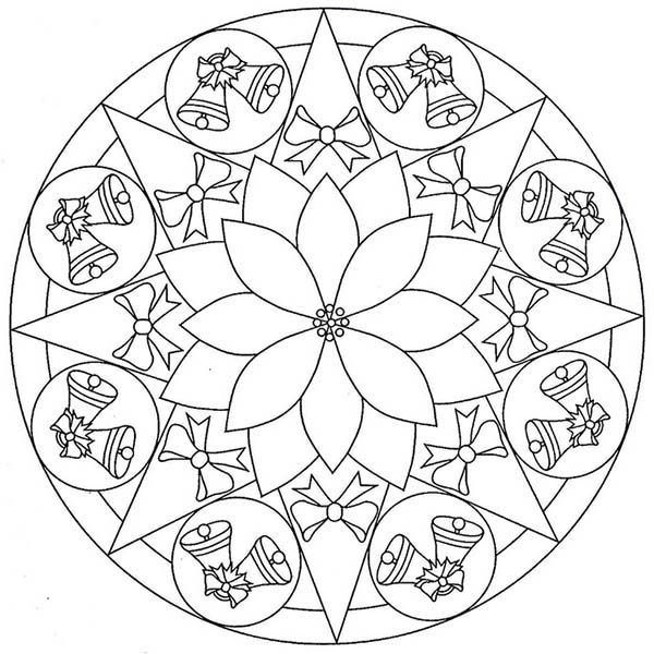 Christmas Mandala, : Mandala Christmas Twin Bell Coloring Pages