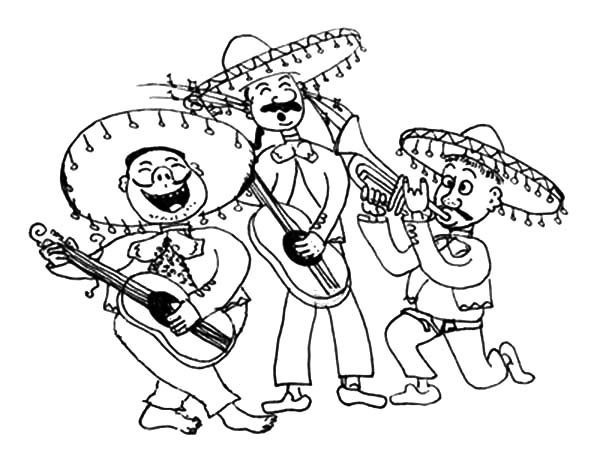 Mariachi Band In Cinco De Mayo Coloring Pages