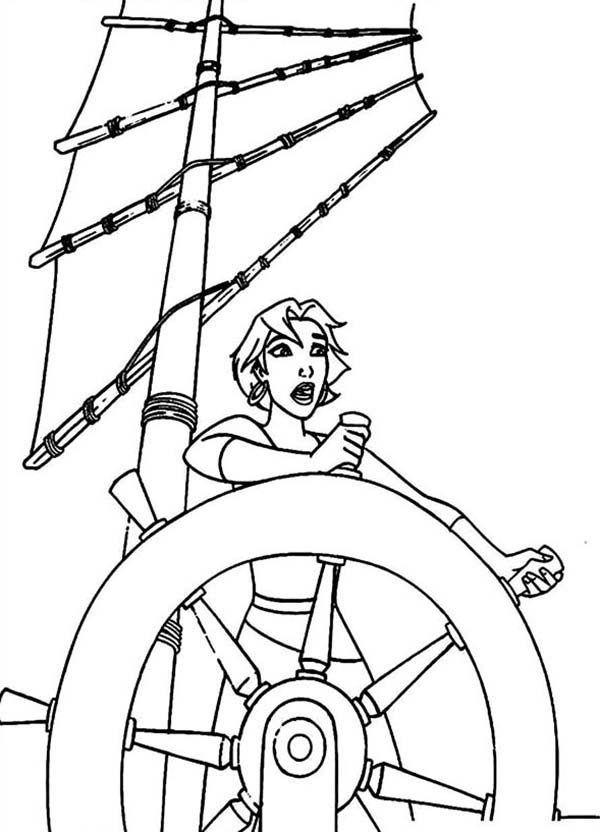 Sinbad the Sailor, : Marina Drives the Ship in Sinbad the Legend of Seven Seas Coloring Pages