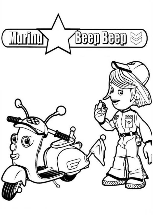Roary the Racing Car, : Marsha the Race marshal and Zippee the Scooter in Roary the Racing Car Coloring Pages
