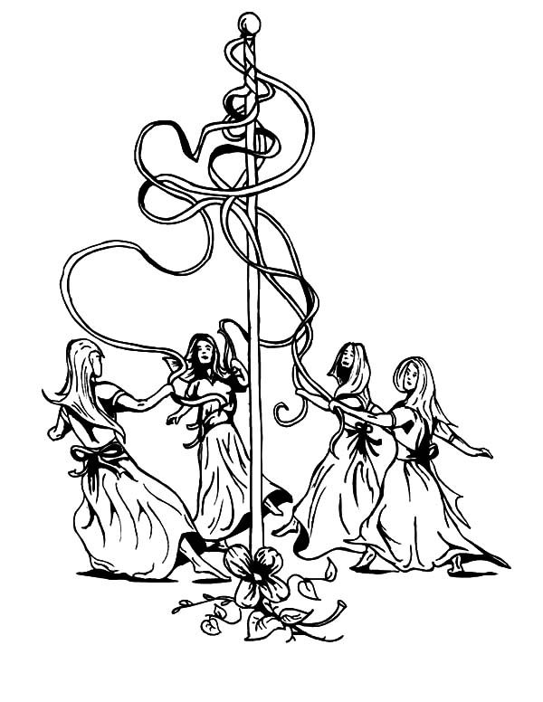May Day, : May Day Celebration Coloring Pages