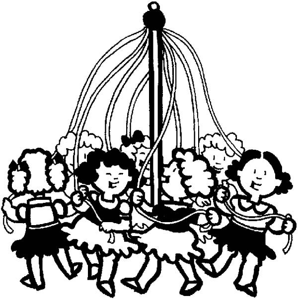 May Day, : May Day Kids Maypole coloring activity