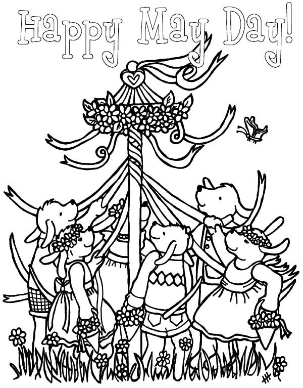 May Day, : May Day Maypole Dance Coloring Pages