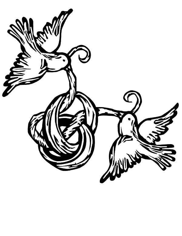 May Day, : May Day Ribbon Birds Coloring Pages