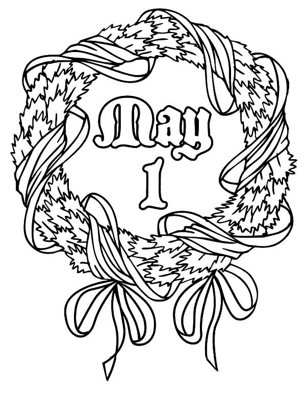 May Day, : May Day Wreath Coloring Pages
