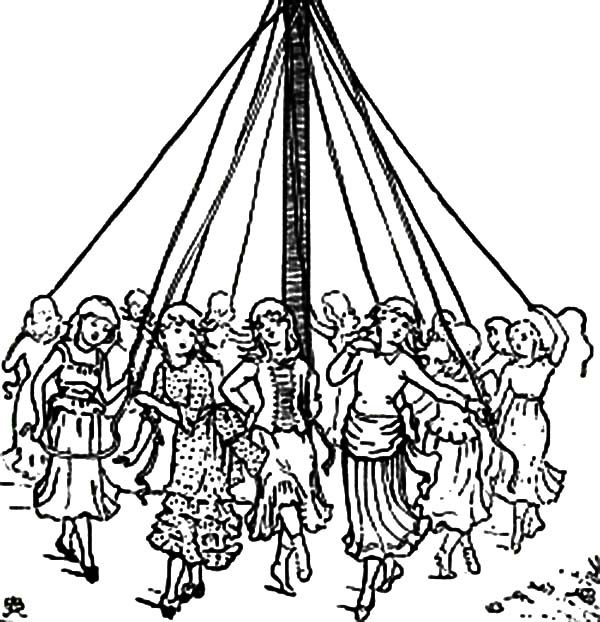 May Day, : Maypole Dance on May Day Celebration Coloring Pages