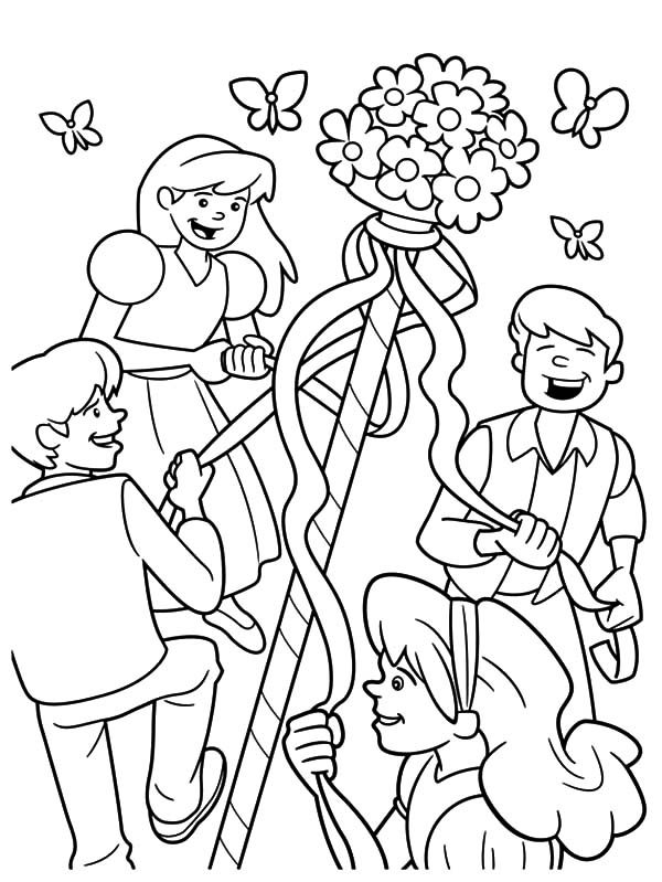 May Day, : Maypole Dancing Happily with Friends on May Day Coloring Pages