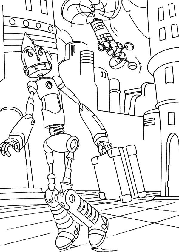 Robots, : Meet Little Flying Robot Coloring Pages
