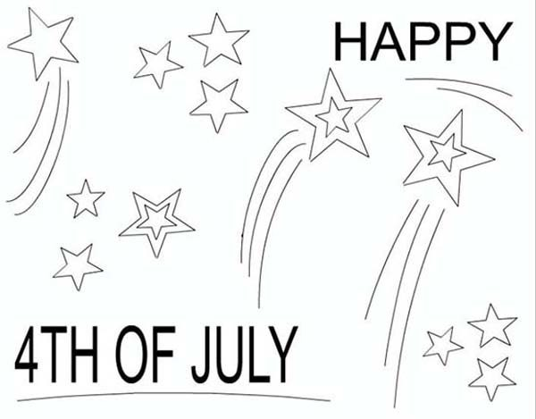 Independence Day, : Merry and Cheerful 4th July Independence Day Coloring Page