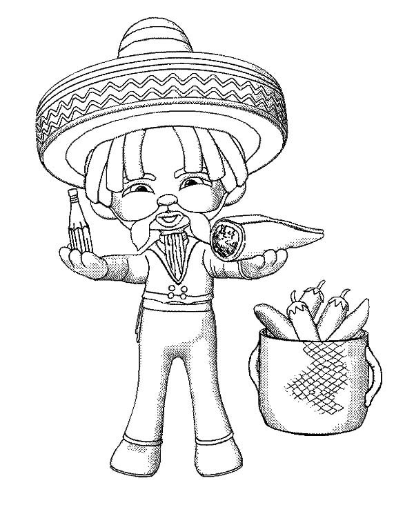 Cinco de Mayo, : Mexican Eat Burrito in Cinco de Mayo Coloring Pages