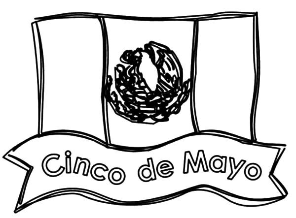 Cinco de Mayo, : Mexican Flag Cinco de Mayo Coloring Pages