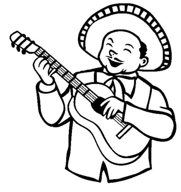 Cinco de Mayo, : Mexican Guitar Player in Cinco de Mayo Coloring Pages