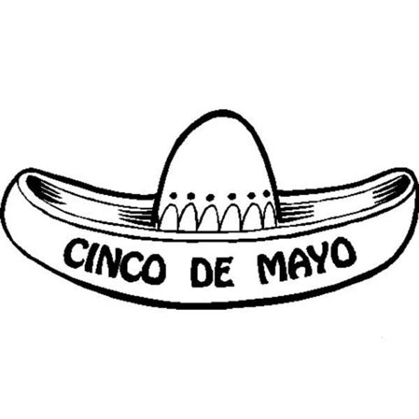 Cinco de Mayo, : Mexico Traditional Hat Sombrero in Cinco de Mayo Coloring Pages