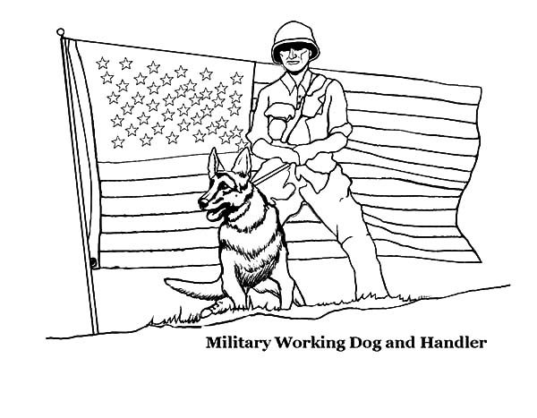 Independence Day, : Military Working Dog and Handler on 4th July Independence Day Coloring Page
