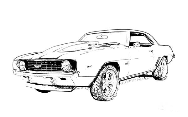Modified Camaro Cars Coloring Pages on muscle car drawings