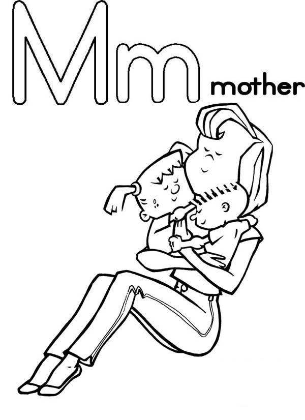 Letter M, : Mother from Letter M Coloring Page