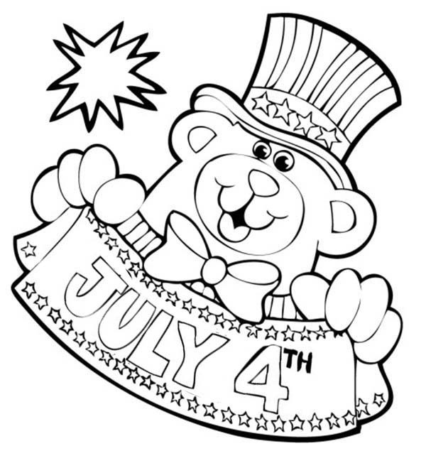 Independence Day, : Mr Bear Mascot for 4th July Independence Day Coloring Page