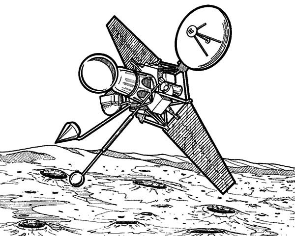 Space Travel, : Observation Satellite Space Travel Coloring Pages