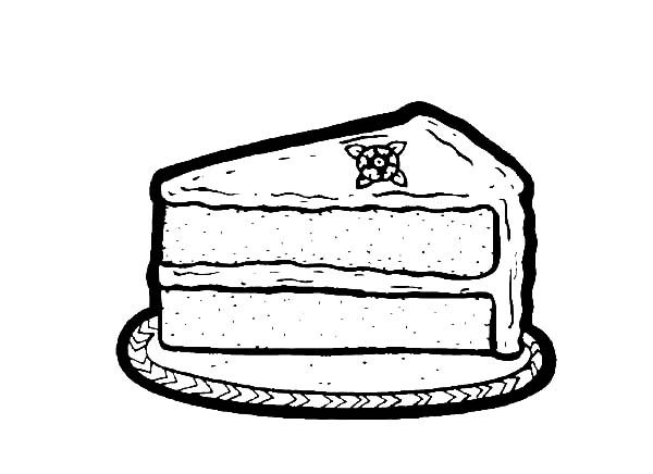 Cake Slice, : One Delicious Cake Slice Coloring Pages