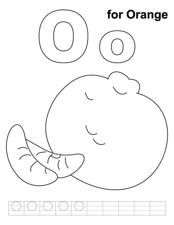 Letter O, : Orange for Letter O Coloring Page
