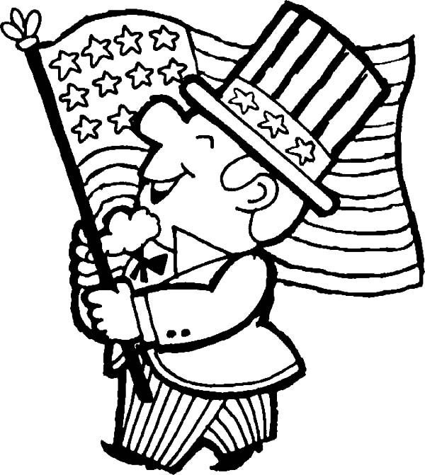 Patriots Day, : Patriots Day A Man Waving US Flag Coloring Pages