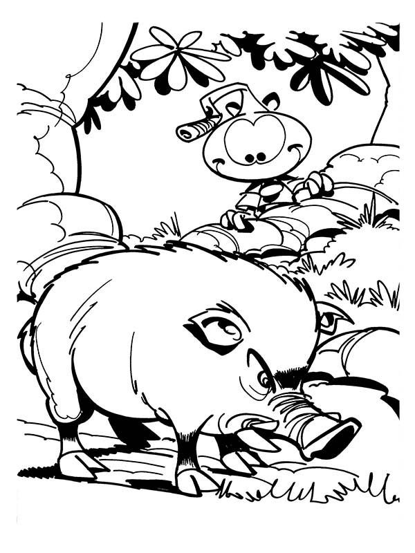 Snorkels, : Peeking Wild Boar Finding Food in Snorkels Coloring Pages