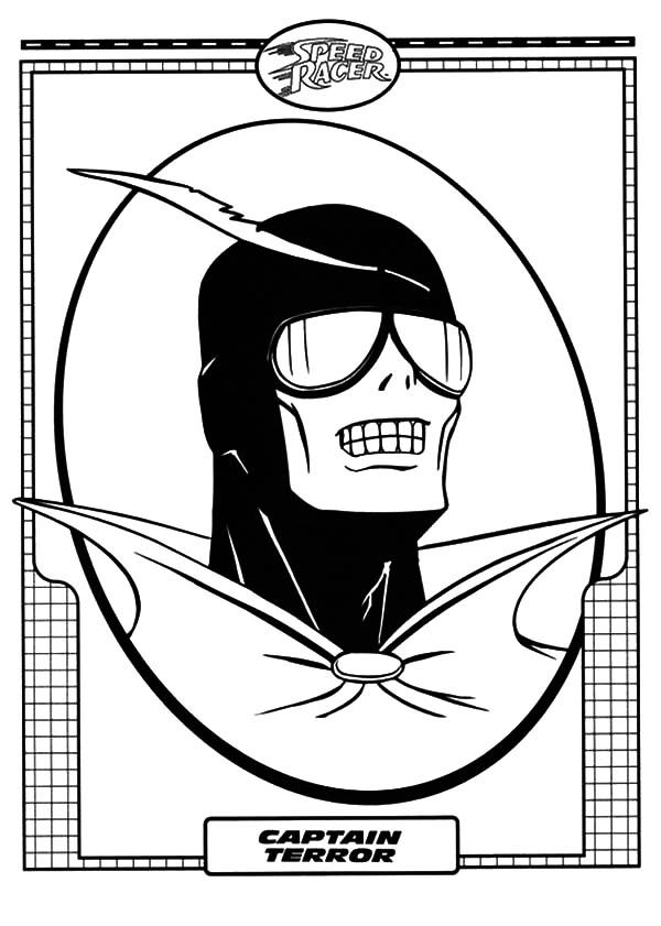 Speed Racer, : Picture of Captain Terror of Speed Racer Coloring Pages