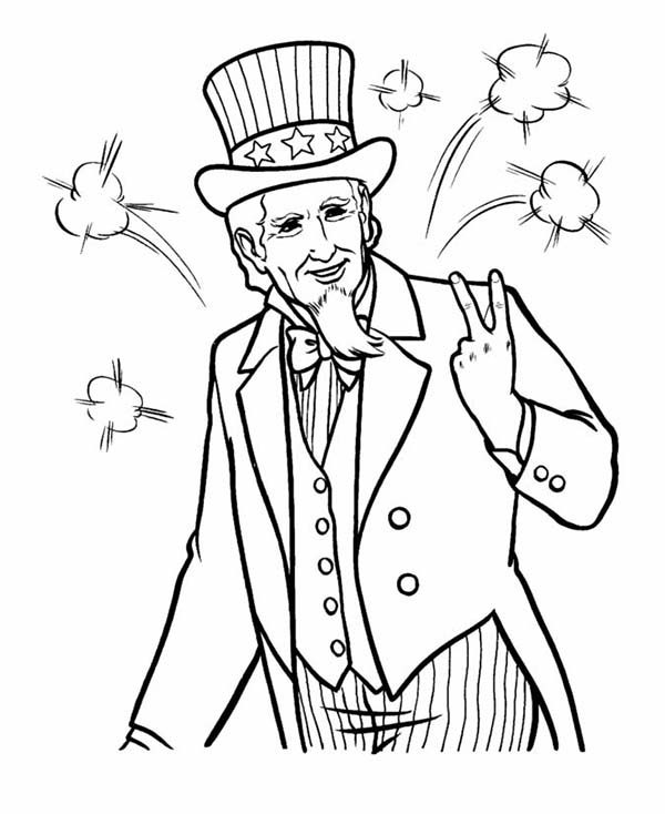 Independence Day, : Picture of Uncle Sam on 4th July Independence Day Coloring Page