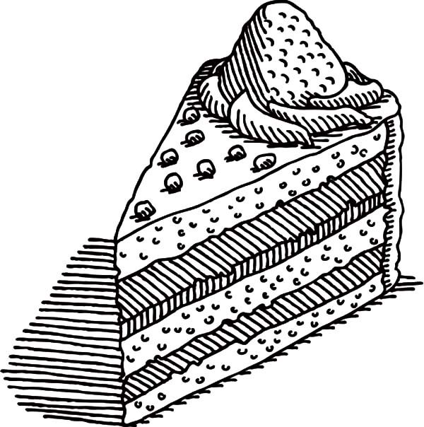 Cake Slice, : Piece of Cake Slice with Strawberry Coloring Pages