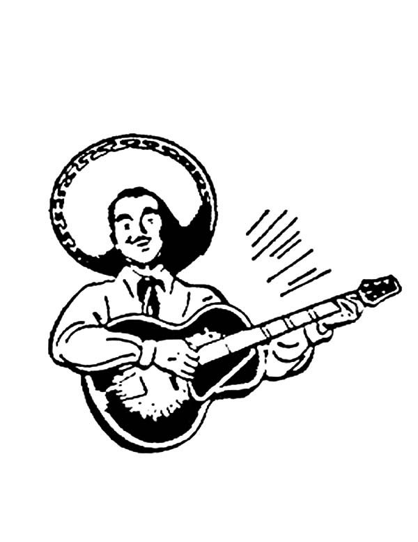 Cinco de Mayo, : Playing Guitar on Cinco de Mayo Coloring Pages