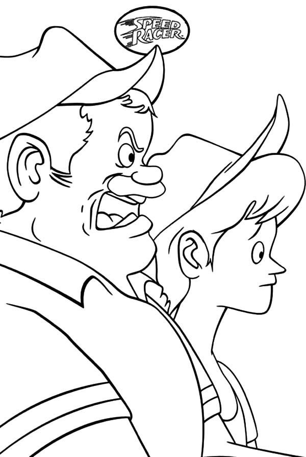 Speed Racer, : Pops Racer Feeling Tense in Speed Racer Coloring Pages